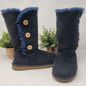 UGG Tall Boots Size 6 Navy Blue Bailey Buttons